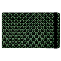 Scales2 Black Marble & Green Denim (r) Apple Ipad 2 Flip Case by trendistuff