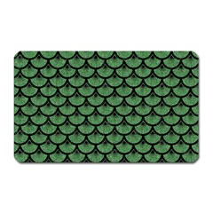 Scales3 Black Marble & Green Denim Magnet (rectangular) by trendistuff