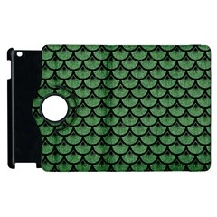 Scales3 Black Marble & Green Denim Apple Ipad 2 Flip 360 Case by trendistuff