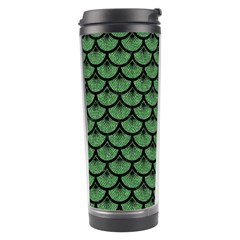 Scales3 Black Marble & Green Denim Travel Tumbler