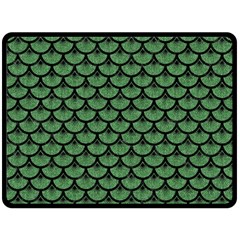Scales3 Black Marble & Green Denim Double Sided Fleece Blanket (large)  by trendistuff
