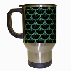 Scales3 Black Marble & Green Denim (r) Travel Mugs (white) by trendistuff