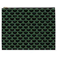 Scales3 Black Marble & Green Denim (r) Cosmetic Bag (xxxl)  by trendistuff