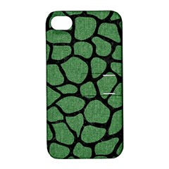 Skin1 Black Marble & Green Denim (r) Apple Iphone 4/4s Hardshell Case With Stand by trendistuff