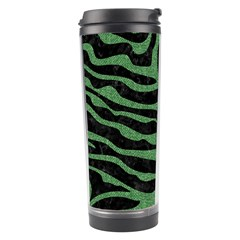 Skin2 Black Marble & Green Denim (r) Travel Tumbler by trendistuff