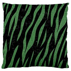 Skin3 Black Marble & Green Denim (r) Large Cushion Case (two Sides) by trendistuff