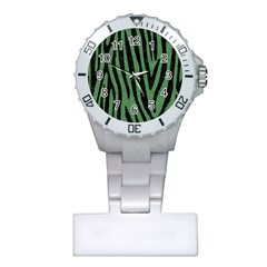 Skin4 Black Marble & Green Denim (r) Plastic Nurses Watch by trendistuff