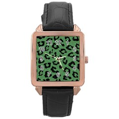 Skin5 Black Marble & Green Denim (r) Rose Gold Leather Watch  by trendistuff