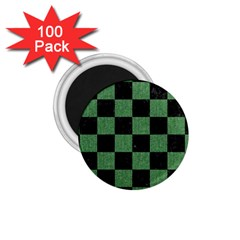 Square1 Black Marble & Green Denim 1 75  Magnets (100 Pack)  by trendistuff