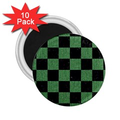 Square1 Black Marble & Green Denim 2 25  Magnets (10 Pack)  by trendistuff