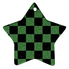 Square1 Black Marble & Green Denim Star Ornament (two Sides) by trendistuff