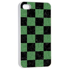 Square1 Black Marble & Green Denim Apple Iphone 4/4s Seamless Case (white) by trendistuff