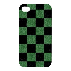 Square1 Black Marble & Green Denim Apple Iphone 4/4s Hardshell Case by trendistuff