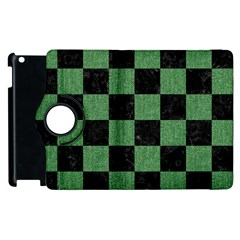 Square1 Black Marble & Green Denim Apple Ipad 3/4 Flip 360 Case by trendistuff