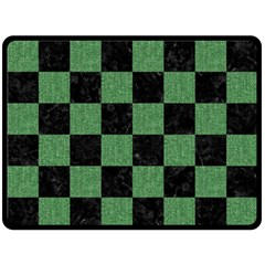 Square1 Black Marble & Green Denim Double Sided Fleece Blanket (large)  by trendistuff