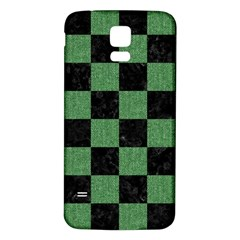 Square1 Black Marble & Green Denim Samsung Galaxy S5 Back Case (white) by trendistuff