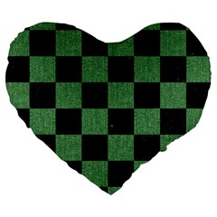 Square1 Black Marble & Green Denim Large 19  Premium Flano Heart Shape Cushions by trendistuff