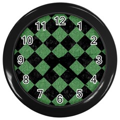 Square2 Black Marble & Green Denim Wall Clocks (black) by trendistuff