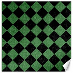 Square2 Black Marble & Green Denim Canvas 16  X 16   by trendistuff