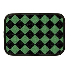 Square2 Black Marble & Green Denim Netbook Case (medium)
