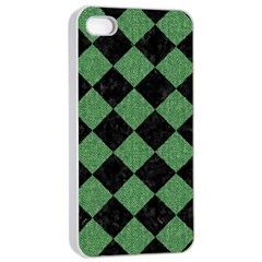 Square2 Black Marble & Green Denim Apple Iphone 4/4s Seamless Case (white) by trendistuff