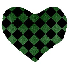 Square2 Black Marble & Green Denim Large 19  Premium Heart Shape Cushions by trendistuff