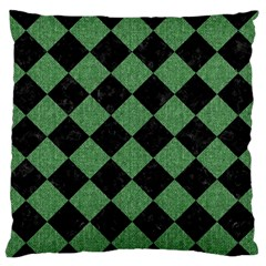 Square2 Black Marble & Green Denim Large Flano Cushion Case (two Sides) by trendistuff