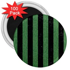 Stripes1 Black Marble & Green Denim 3  Magnets (100 Pack) by trendistuff