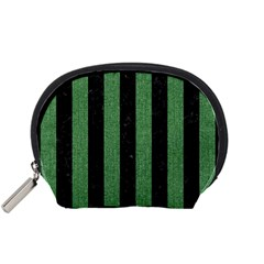 Stripes1 Black Marble & Green Denim Accessory Pouches (small)  by trendistuff