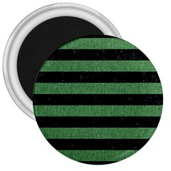 Stripes2 Black Marble & Green Denim 3  Magnets by trendistuff