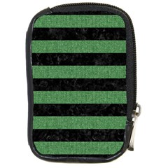 Stripes2 Black Marble & Green Denim Compact Camera Cases by trendistuff