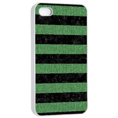 Stripes2 Black Marble & Green Denim Apple Iphone 4/4s Seamless Case (white) by trendistuff