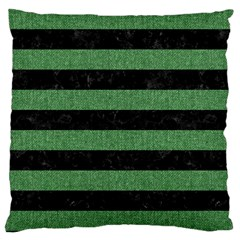 Stripes2 Black Marble & Green Denim Large Cushion Case (two Sides) by trendistuff