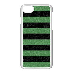 Stripes2 Black Marble & Green Denim Apple Iphone 7 Seamless Case (white) by trendistuff