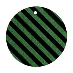 Stripes3 Black Marble & Green Denim Round Ornament (two Sides) by trendistuff