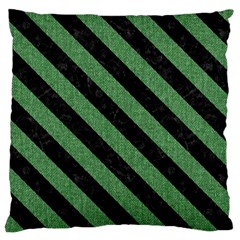 Stripes3 Black Marble & Green Denim Large Cushion Case (two Sides)