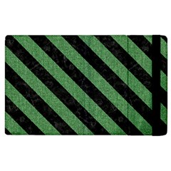 Stripes3 Black Marble & Green Denim Apple Ipad 2 Flip Case by trendistuff