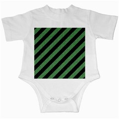 Stripes3 Black Marble & Green Denim (r) Infant Creepers