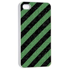 Stripes3 Black Marble & Green Denim (r) Apple Iphone 4/4s Seamless Case (white) by trendistuff