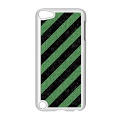 Stripes3 Black Marble & Green Denim (r) Apple Ipod Touch 5 Case (white) by trendistuff