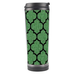 Tile1 Black Marble & Green Denim Travel Tumbler by trendistuff