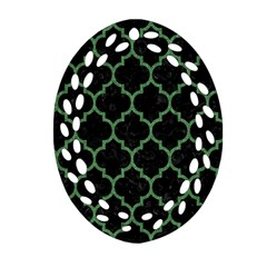 Tile1 Black Marble & Green Denim (r) Oval Filigree Ornament (two Sides) by trendistuff