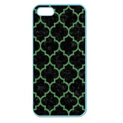 Tile1 Black Marble & Green Denim (r) Apple Seamless Iphone 5 Case (color) by trendistuff