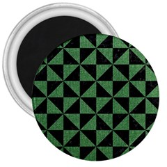 Triangle1 Black Marble & Green Denim 3  Magnets by trendistuff