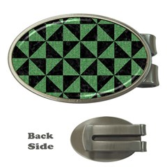 Triangle1 Black Marble & Green Denim Money Clips (oval)
