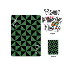 Triangle1 Black Marble & Green Denim Playing Cards 54 (mini)  by trendistuff
