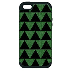 Triangle2 Black Marble & Green Denim Apple Iphone 5 Hardshell Case (pc+silicone) by trendistuff