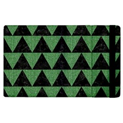 Triangle2 Black Marble & Green Denim Apple Ipad 2 Flip Case by trendistuff