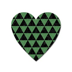 Triangle3 Black Marble & Green Denim Heart Magnet by trendistuff