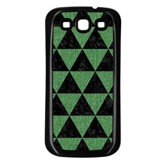 Triangle3 Black Marble & Green Denim Samsung Galaxy S3 Back Case (black) by trendistuff